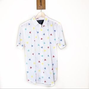 PlayStation white short sleeved button up shirt